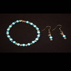 Teal Bracelet Earring Set